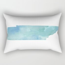 Watercolor State Map - Tennessee TN blue greens Rectangular Pillow