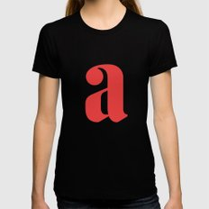 Lowercase a SMALL Black Womens Fitted Tee
