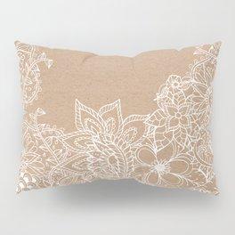 Modern white hand drawn floral illustration on rustic beige faux kraft color block Pillow Sham