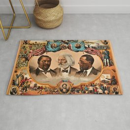 1881 African American 'Heroes of the Colored Race' Library of Congress Print Poster Rug