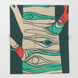 Whimsical birch tree Throw Blanket