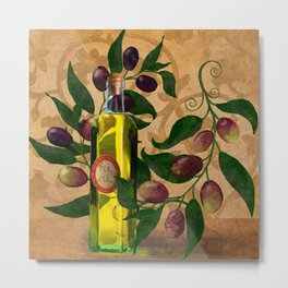 Olives and Italian Olive Oil Metal Print
