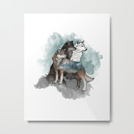 Double Exposure Wolves Metal Print