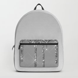 Gray & Silver Glitter Drips Backpack