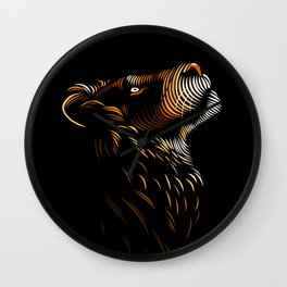Tribal lines lion profile Wall Clock
