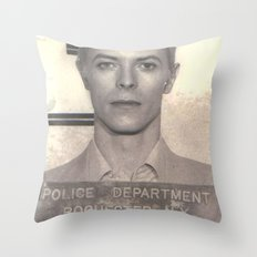 Bowie Mugshot VI Throw Pillow