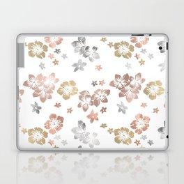 Rose Gold Copper Bronze Tropical Flowers Multi Metallic Laptop & iPad Skin