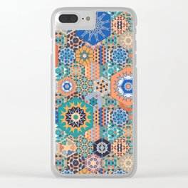 Hexagons Tiles (Colorful) Clear iPhone Case