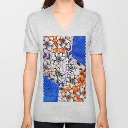 Spring colorful flowers collage, blue, orange Unisex V-Neck