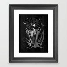OCTO-PUSSY Grunge (BLK&WHITE)  Framed Art Print