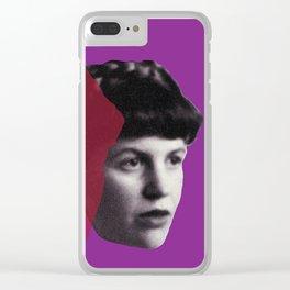 Sylvia Plath Portrait - purple pink Clear iPhone Case