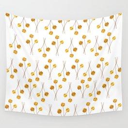 Yellow Pom Pom Flowers Wall Tapestry
