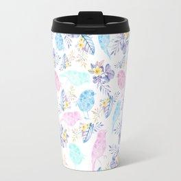 Pink teal lavender hand painted watercolor bird floral Travel Mug