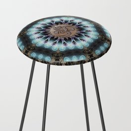 Om Shanti Fractal Geometry [ earthy aqua remix ] Counter Stool