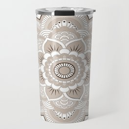 Beige & White Mandala Travel Mug