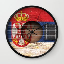Old Vintage Acoustic Guitar with Serbian Flag Wall Clock