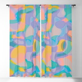 Neon Shapes / Vibrant, Colorful Abstraction Blackout Curtain