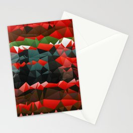 Red Green Quilted Pattern Design Stationery Cards