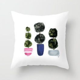 Pretty Potted Plants Throw Pillow