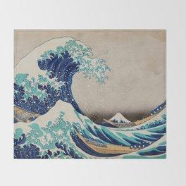 Massive Waves Japanese Art Throw Blanket