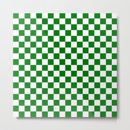 Large Green and White Christmas Check Metal Print