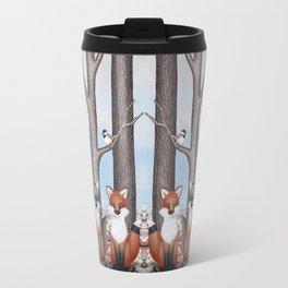 fox friends (with chickadees) Travel Mug