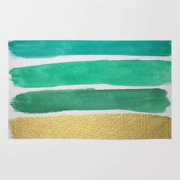 Gold and Green Stripes Rug
