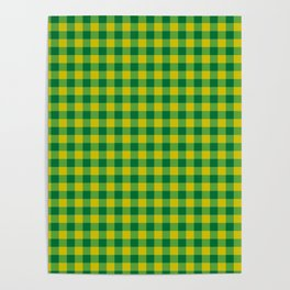 Lime Green And Green Flannel Pattern Poster