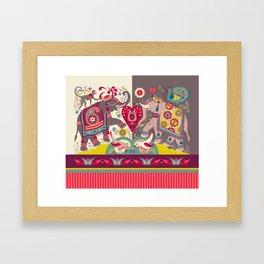 Raja's Garden 'Two Royal Elephants' with Indian Stripe Framed Art Print