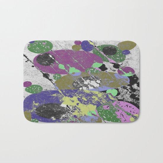 Stack Em Up! - Abstract, textured, pastel coloured artwork Bath Mat