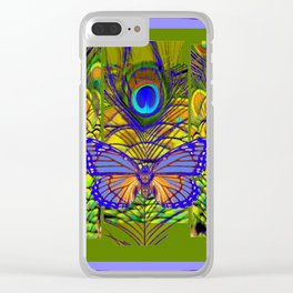 BLUE-PURPLE BUTTERFLY PEACOCK FEATHER PATTERNS Clear iPhone Case