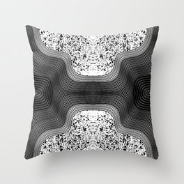 Modern Black and White Speckles and Swirls Throw Pillow
