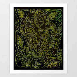 Glowing monkey, digital lino print Art Print