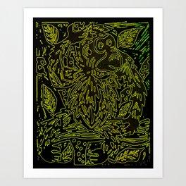 Glowing monkey, digital lino print Art Print