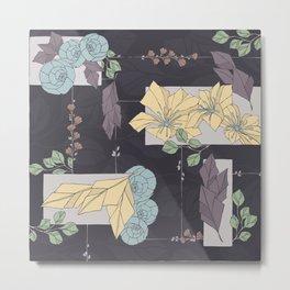 Flower Fracas Puple Metal Print