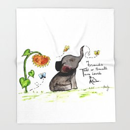 Friends are Loved by All - Baby Elephant Sunflower Butterflies Art by Annette Bailey Throw Blanket