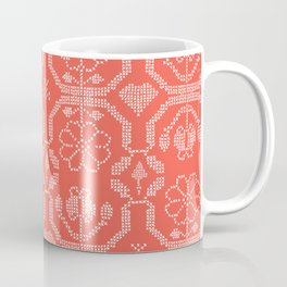 Hand Drawn Embroidery Sampler Stitches Seamless Vector Pattern Coffee Mug