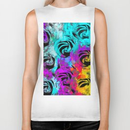 closeup rose texture pattern abstract background in blue purple pink yellow Biker Tank