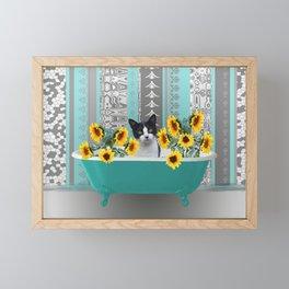 Bathtub with black and white cat - sunflower Framed Mini Art Print