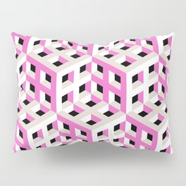 Pink and White Pattern with Gray and Black Fractal Art Pillow Sham