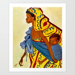 Mama Toto African Mother and Child - Sher Nasser Artist Art Print