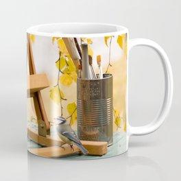 Birds and Artist Painting Tools Autumn Scene #decor #society6 #buyart Coffee Mug