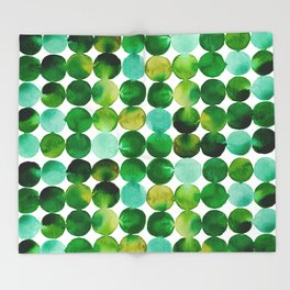Green Watercolor Circles Pattern Throw Blanket
