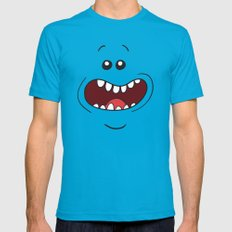 Mr. Meeseeks Rick and Morty LARGE Teal Mens Fitted Tee