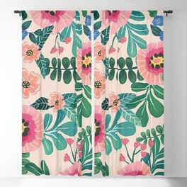 Colorful Tropical Vintage Flowers Abstract Blackout Curtain