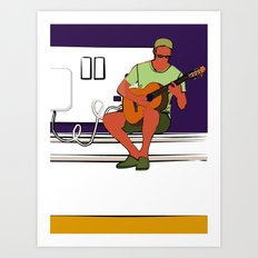 Small/ shrunken guitarist with wall socket Art Print