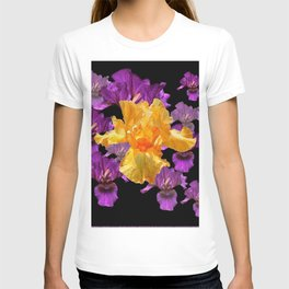LILAC PURPLE & GOLDEN IRIS ART PATTERN BLACK DESIGN T-shirt
