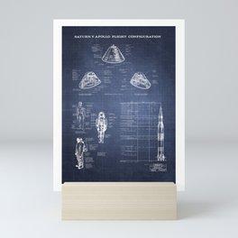 Apollo 11 Saturn V Command Module Blueprint in High Resolution (dark blue) Mini Art Print
