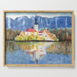 Church of the Assumption in Lake Bled Slovenia Serving Tray