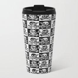 Swimming Glyphs and Sunflowers: Checkered Version With Skulls Travel Mug